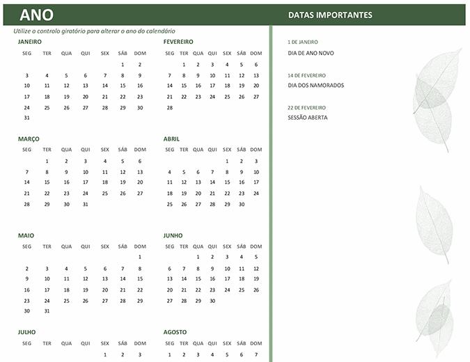 Calendário empresarial (qualquer ano, de segunda-feira a domingo)
