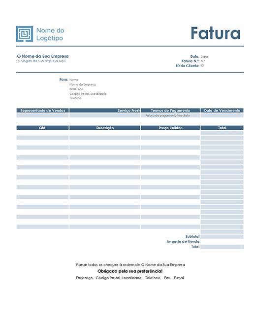 Fatura de serviço (design Azul Simples)