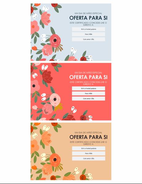 Certificados de presente do Dia das Mães com florais elegantes
