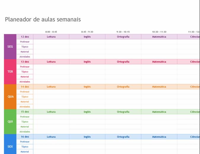 Planeador de aulas semanais