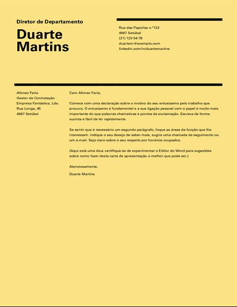 Carta de apresentação com design suíço