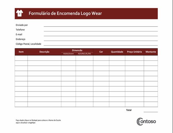 Formulário de encomenda Logowear