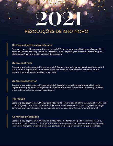 Folha de cálculo de resoluções de Ano Novo