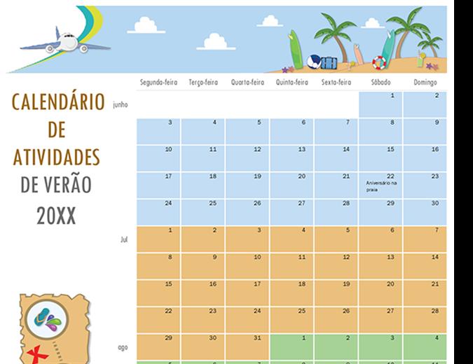 Calendário de atividade de verão