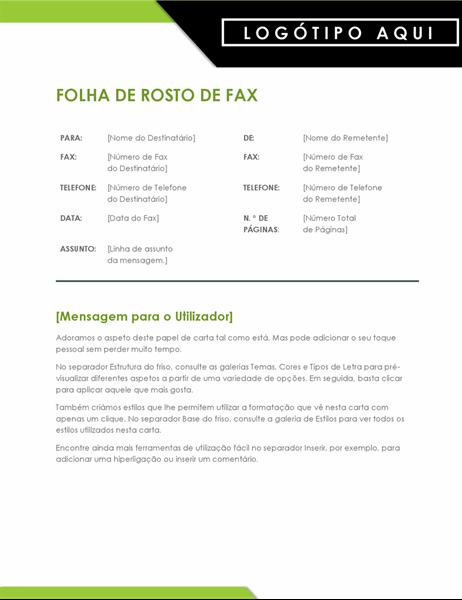 Folha de rosto de fax com logótipo arrojado