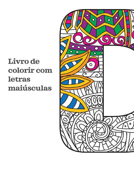 Livro de colorir com letras maiúsculas