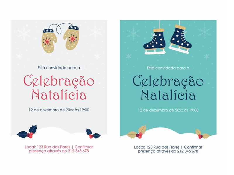 Convites para festas da época natalícia
