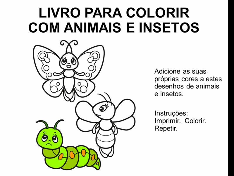Livro para colorir com animais e insetos