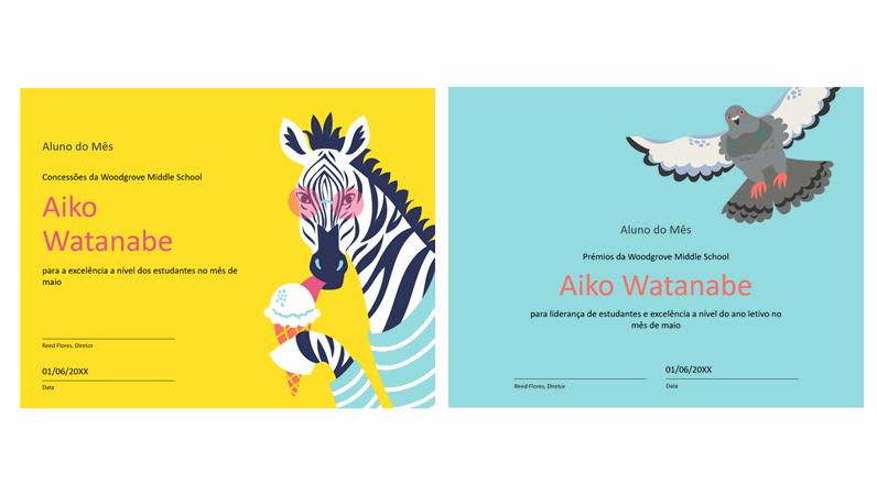 Certificado de estudante para animais coloridos