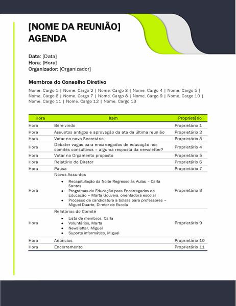 Agenda de reunião educativa