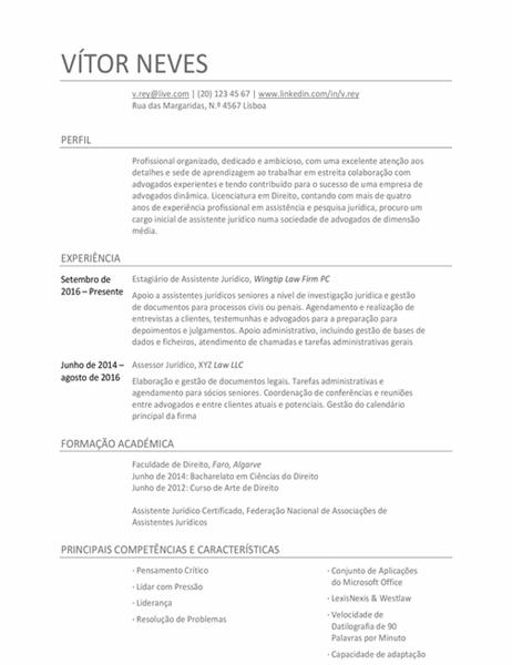 Currículo para assistente jurídico