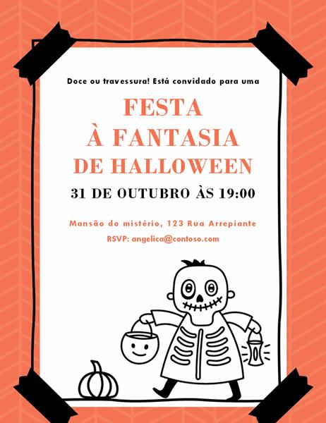 Convite Esqueleto de Halloween