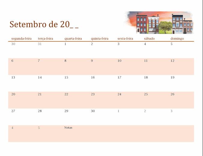 Calendário sazonal ilustrado para qualquer ano