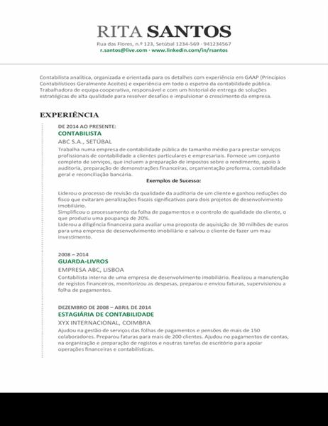 Currículo para gestão contabilística