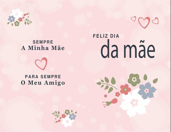 Cartão do Dia da Mãe em cor-de-rosa