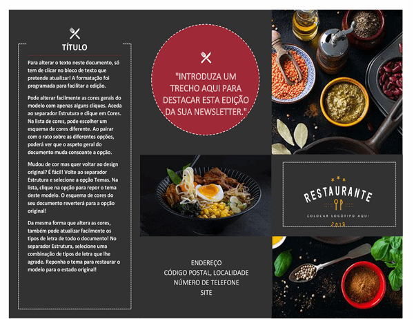 Brochura de restaurante