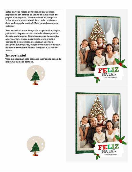 Cartão festivo com colagem de fotografias