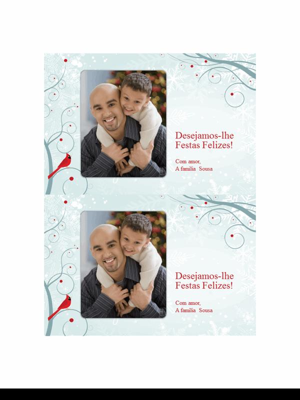 Postais fotográficos festivos com floco de neve (dois por página)
