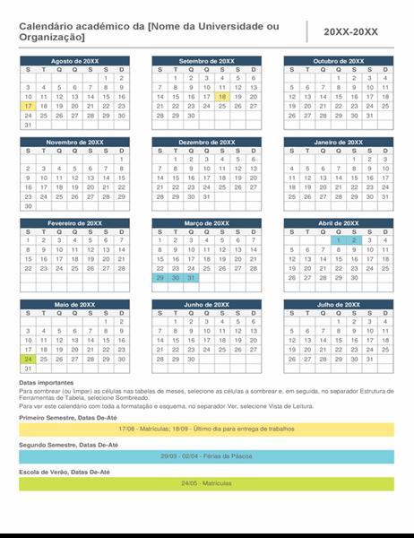 Calendário para o ano inteiro