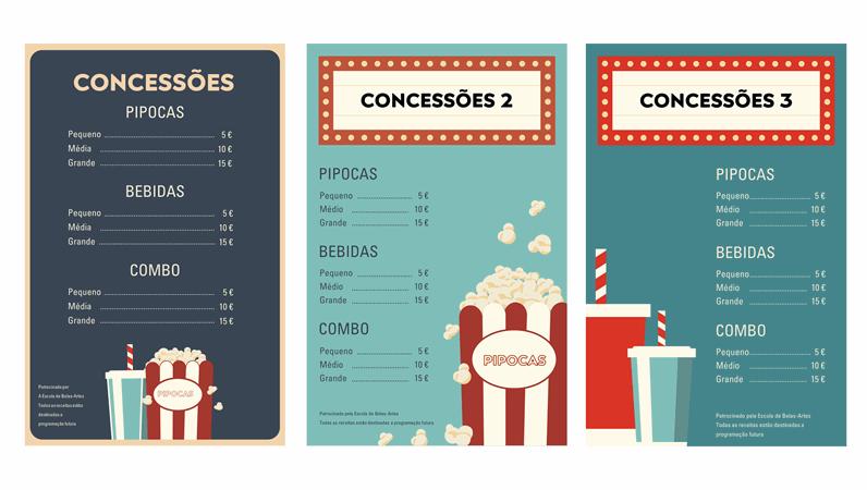 Cartazes de snack bar para noite de cinema