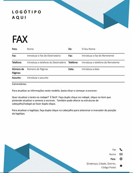Folha de rosto de fax com riscas