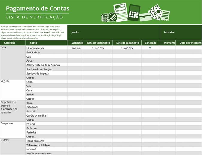 Lista de verificação para pagamentos de faturas