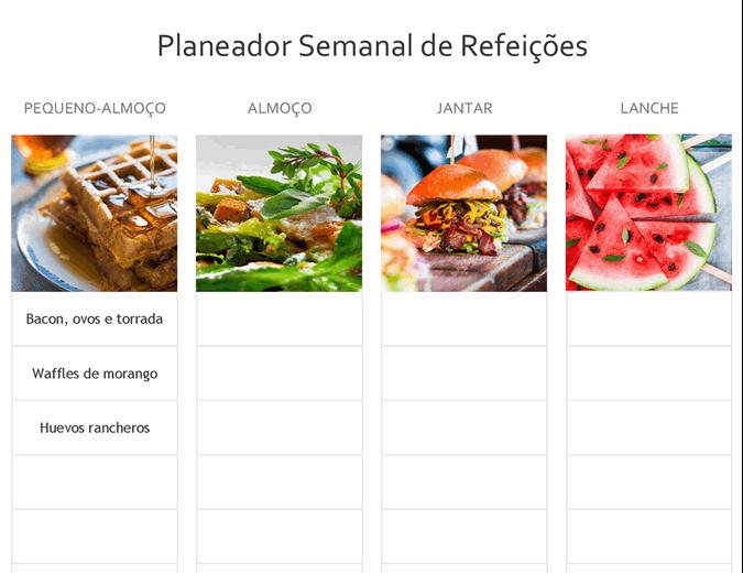 Planeador de refeições simples
