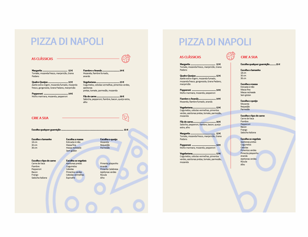 Menu de pizza