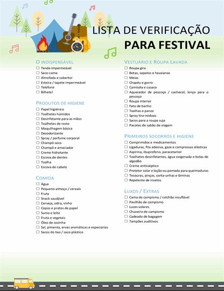 Lista de verificação para festival