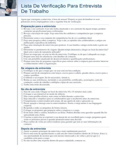 Lista de verificação para entrevista de trabalho
