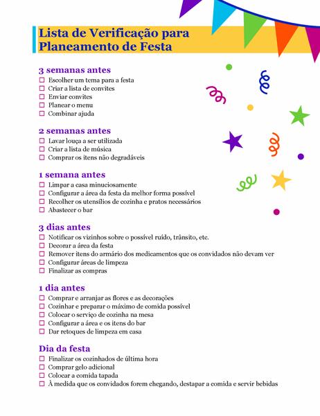 Lista de verificação para planeamento de festa