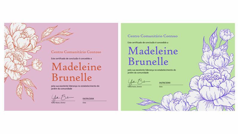 Certificado de Conclusão com gravação floral