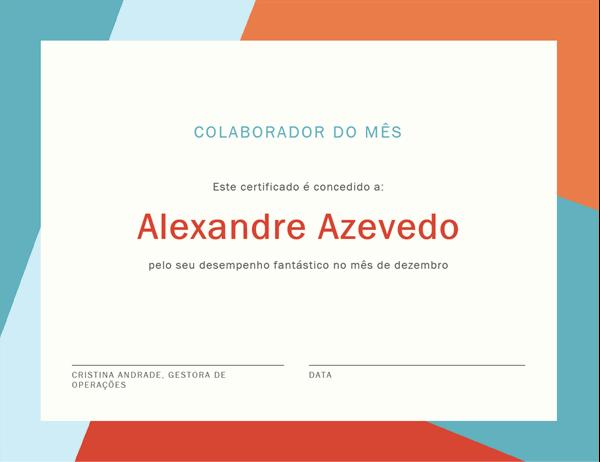 Certificado para o colaborador do mês