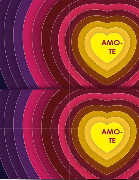 Cartão com corações sobrepostos