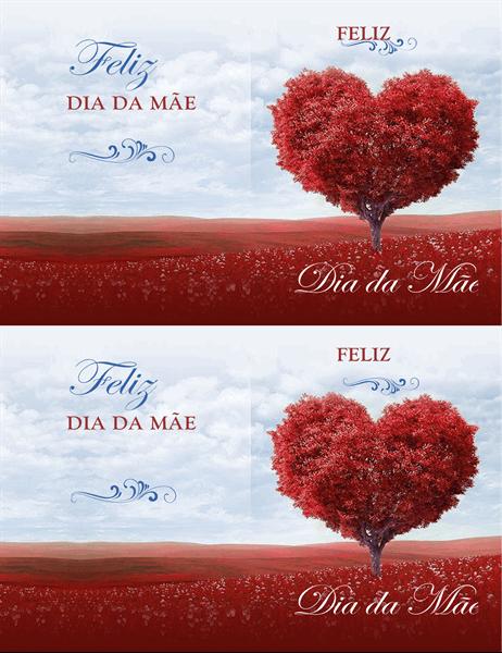 Cartão do Dia da Mãe - Árvore de Corações