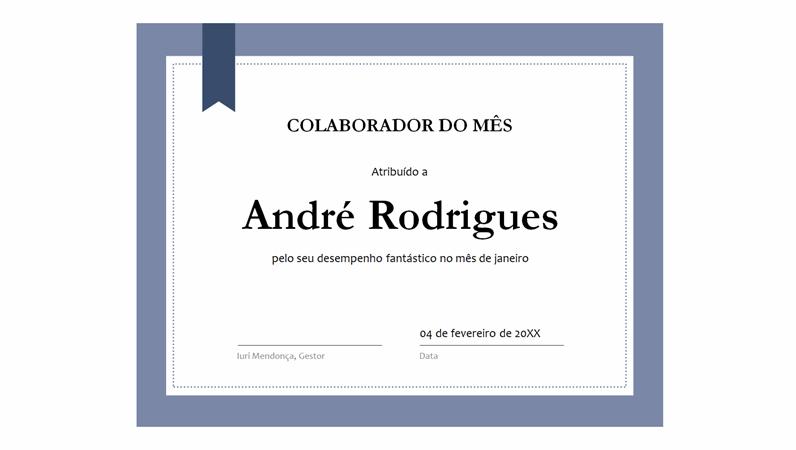 Certificado para o colaboradordomês