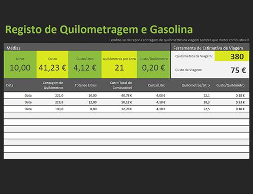 Registo de combustível e quilometragem