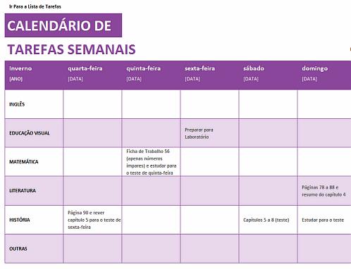 Calendário de Tarefas Semanais