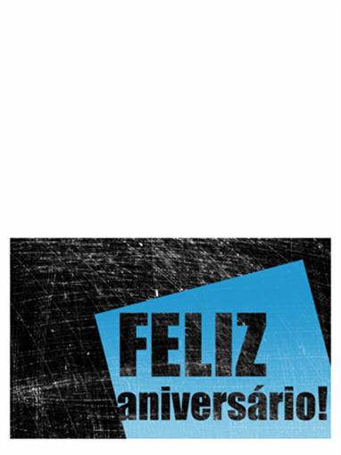Cartão de aniversário, fundo rasurado (preto, azul, meia dobra)