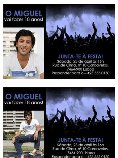 Convite para festa (azul a preto)