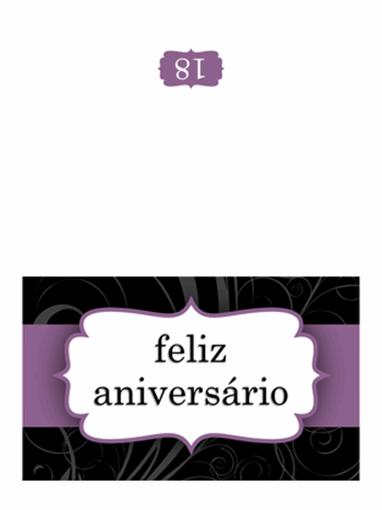 Cartão de aniversário (Estrutura de Fita Roxa, dobra a meio )