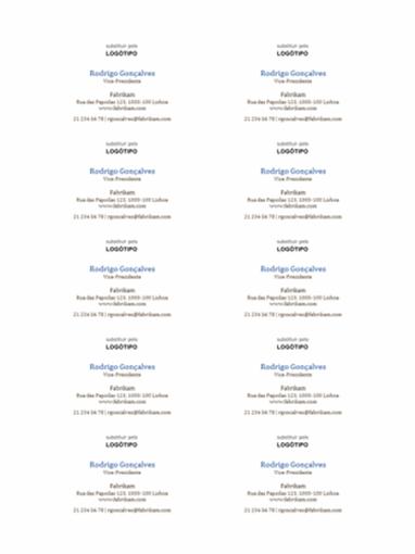 Cartões de visita, esquema horizontal com logótipo (10 por página)