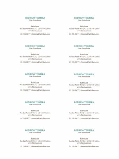 Cartões de visita, esquema horizontal sem logótipo (10 por página)