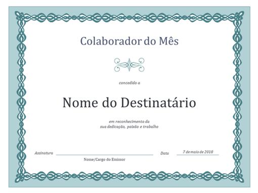 Certificado de Colaborador do Mês (elos azuis)
