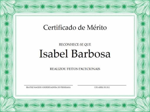 Certificado de mérito (verde)