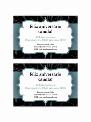 Convite para festa (design de fita azul, 2 por página)