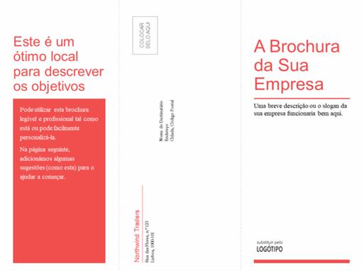 Dobra tripla para empresa, brochura médica (design branco, vermelho)