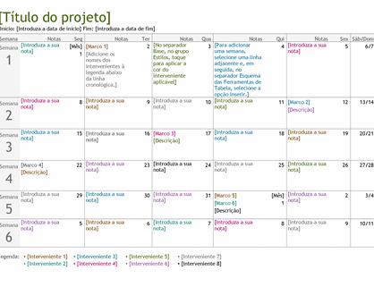 Linha cronológica de planeamento de projeto