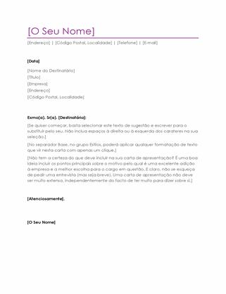 Carta de apresentação (violeta)