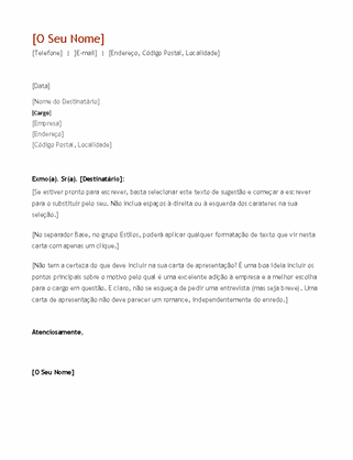 Currículo e carta de apresentação (por ordem cronológica)